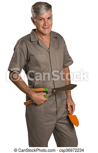 A gardener with tools, isolated on white Background. - csp36972234