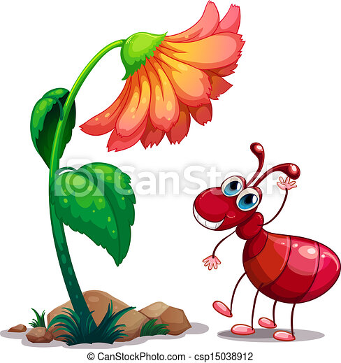 a giant flower beside the red ant illustration of a giant flower