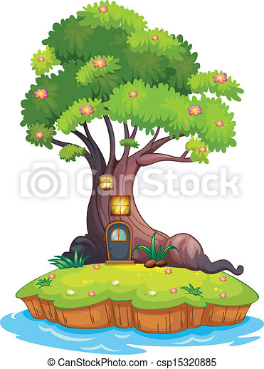 A giant tree in an island - csp15320885