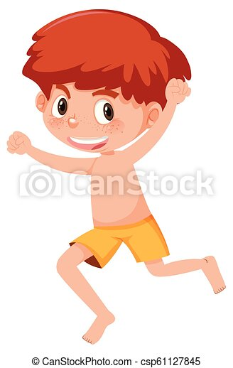 A ginger boy on white background - csp61127845