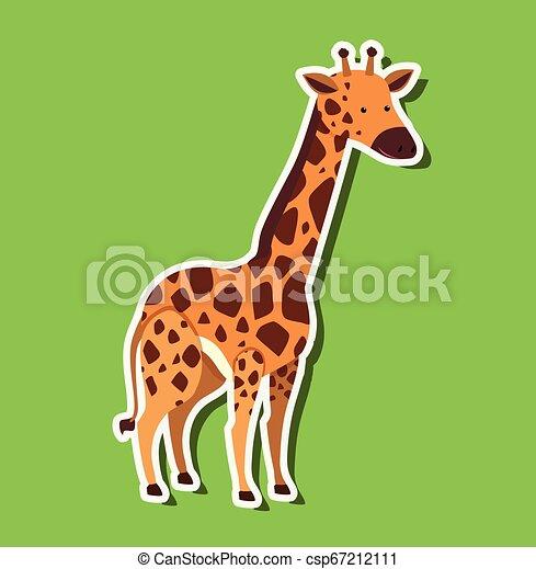 A giraffe sticker on green background - csp67212111
