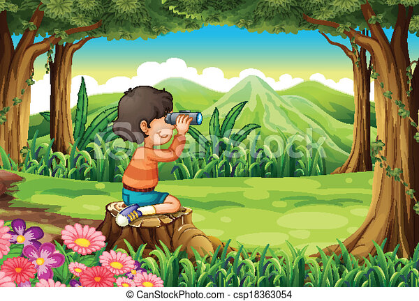 A girl above the stump with a telescope - csp18363054