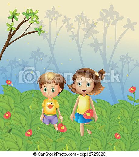 a girl and a boy in the garden csp12725626 - The Girls In The Garden
