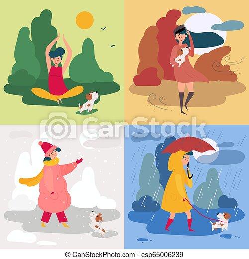 Set Clothes Accessories Rainy Weather Girl Stock-Vektorgrafik (Lizenzfrei)  663367777