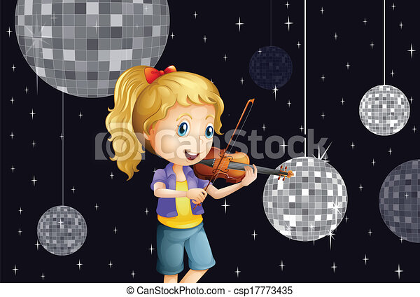 A girl at the disco house playing with the violin - csp17773435