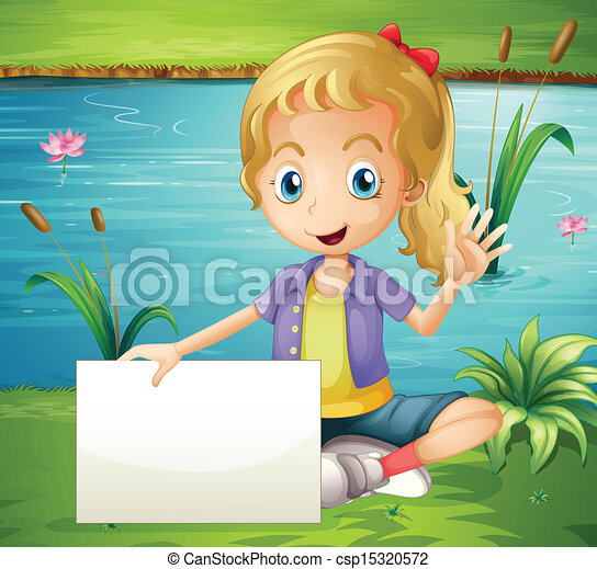 A girl at the pond holding an empty signboard - csp15320572