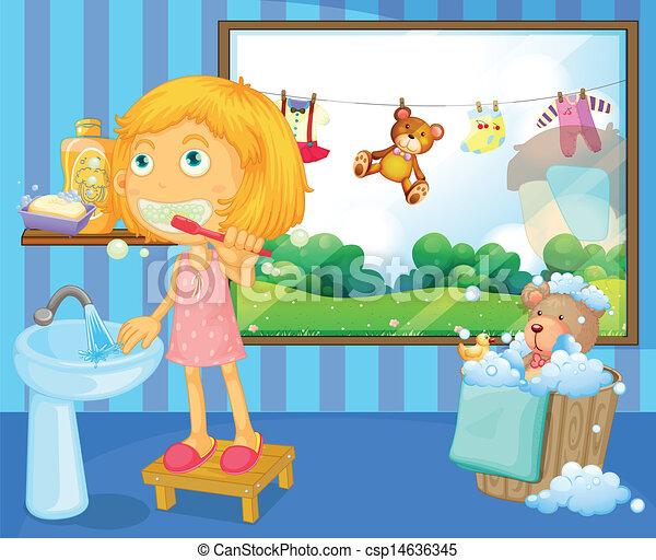 A girl brushing her teeth - csp14636345