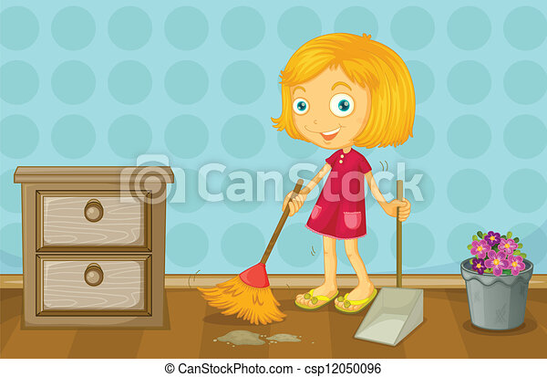 A girl cleaning a room - csp12050096