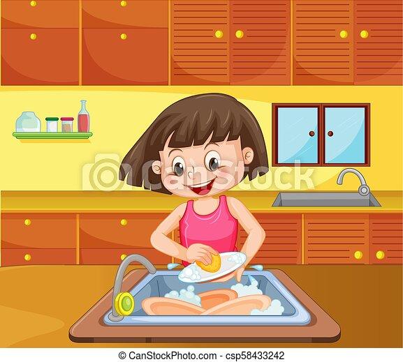 Dishwashing / wiping dishes | Free Cliparts | illustAC