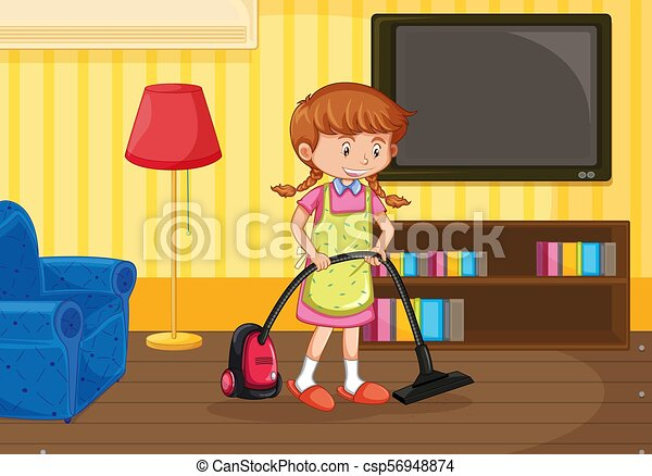 A Girl Cleaning Living room - csp56948874