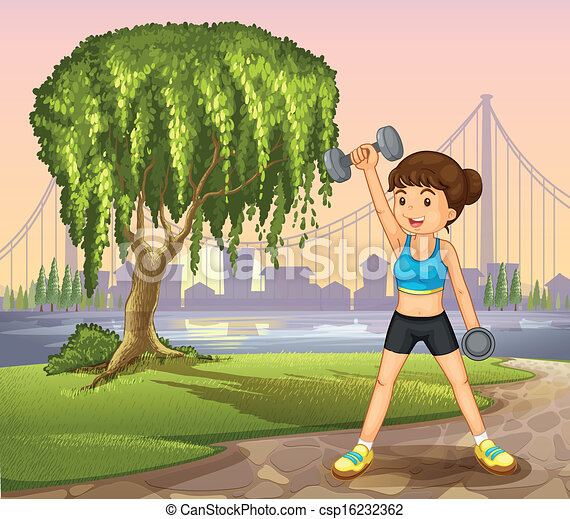 A girl exercising near the giant tree - csp16232362