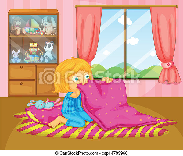 A girl folding her blanket - csp14783966