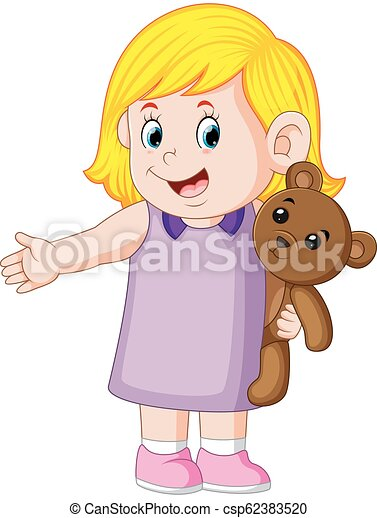 a girl funny playing with the cute brown teddy bear - csp62383520