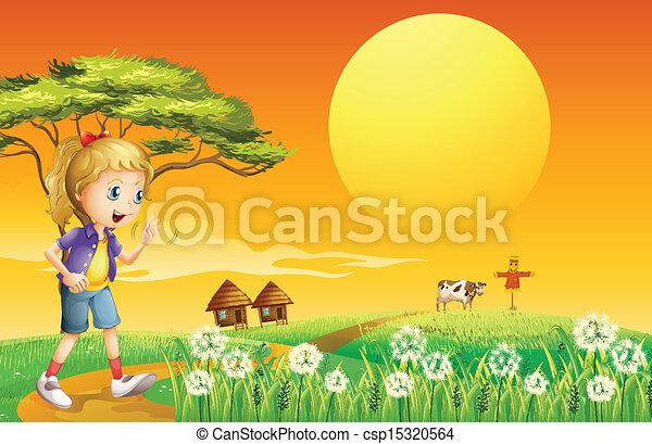 A girl going to the farm - csp15320564