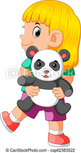 a girl happy playing with the panda doll - csp62383522