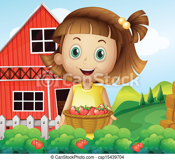 A girl harvesting at the strawberry farm - csp15439704