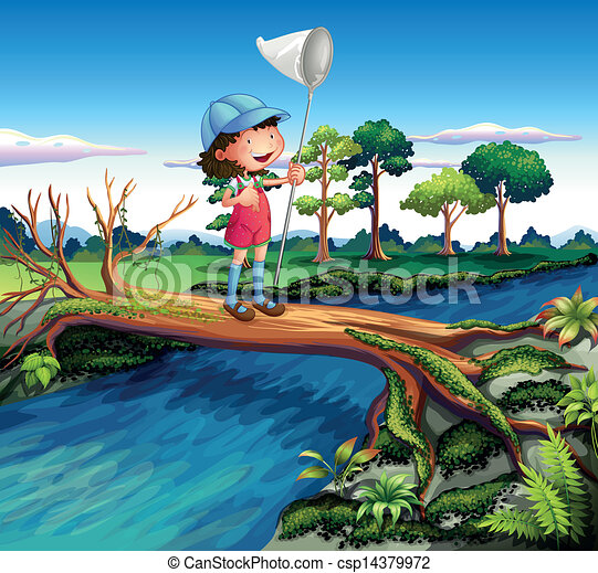 A girl holding a butterfly net crossing the river - csp14379972