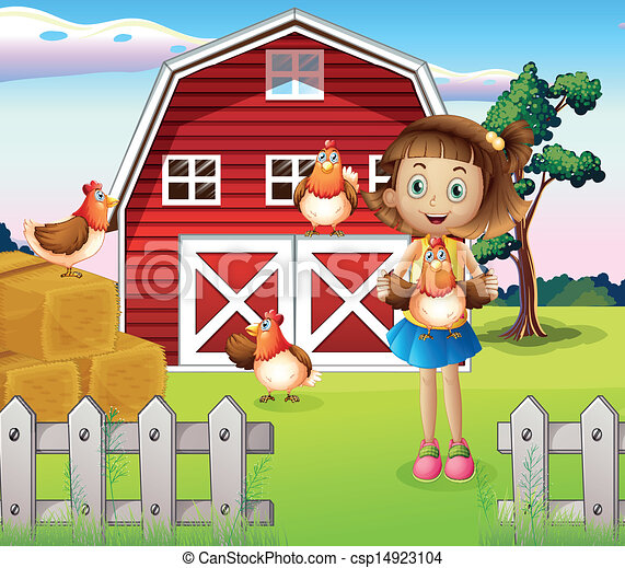 A girl holding a chicken at the farm - csp14923104
