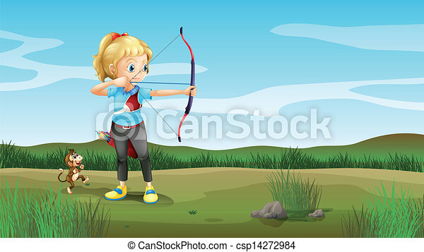 A girl holding an archery with a monkey at the back - csp14272984