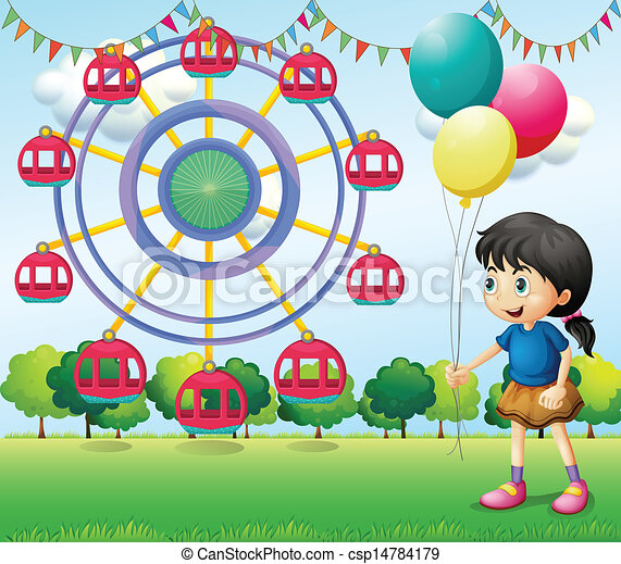 A girl holding balloons at the carnival - csp14784179