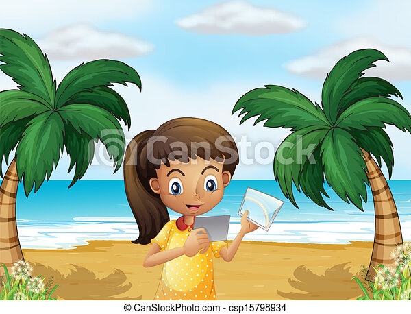A girl holding pictures at the beach - csp15798934