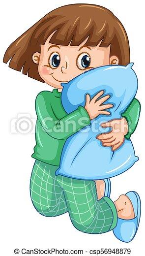 A Girl in Pajamas Hugging Pillow - csp56948879