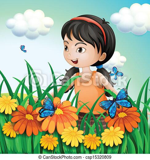 a girl in the garden with butterflies csp15320809 - The Girls In The Garden