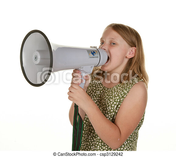 a girl isolated on white with megaphone - csp3129242
