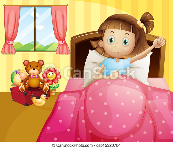 A girl lying in her bed with a pink blanket - csp15320784
