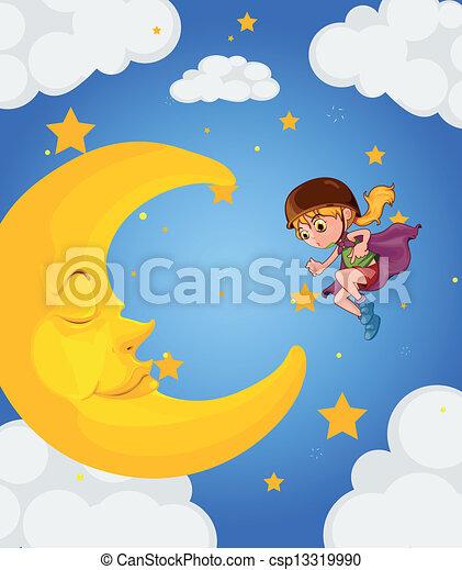 A girl near the sleeping moon - csp13319990