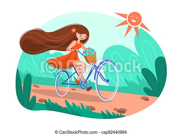 A girl on a bicycle, a red dress, a basket of flowers and flying long hair. Cheerful summer illustration girl riding a bike - csp92440994