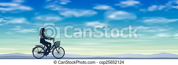 A Girl on a Bicycle - csp25652124