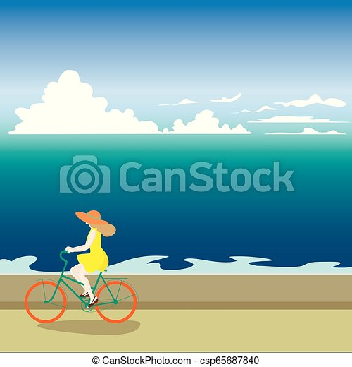 A girl on a bicycle rides along the sea shore. Vector illustrati - csp65687840