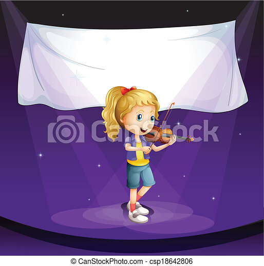 A girl performing at the stage with an empty banner - csp18642806