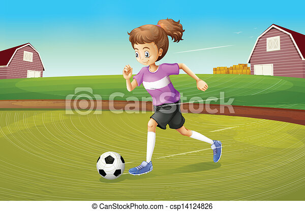 A girl playing football at the farm - csp14124826