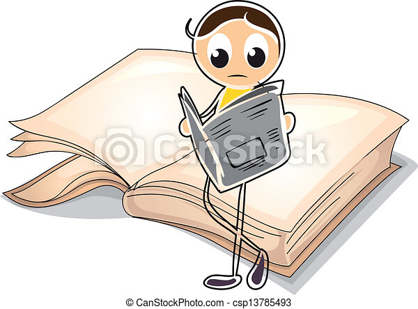 A girl reading in front of a big book - csp13785493