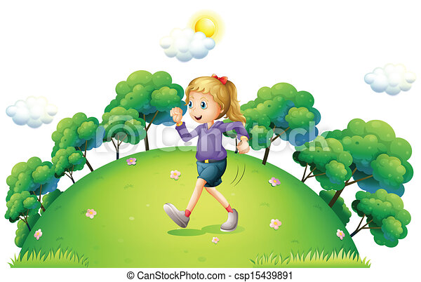 A girl running above the hill - csp15439891
