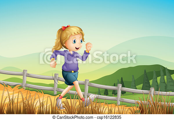 A girl running at the farm - csp16122835
