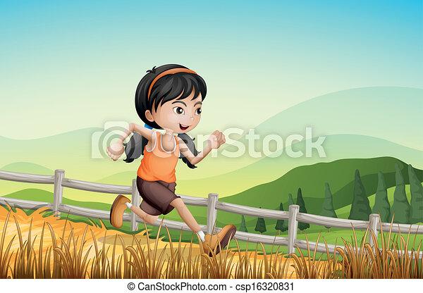 A girl running at the farm - csp16320831