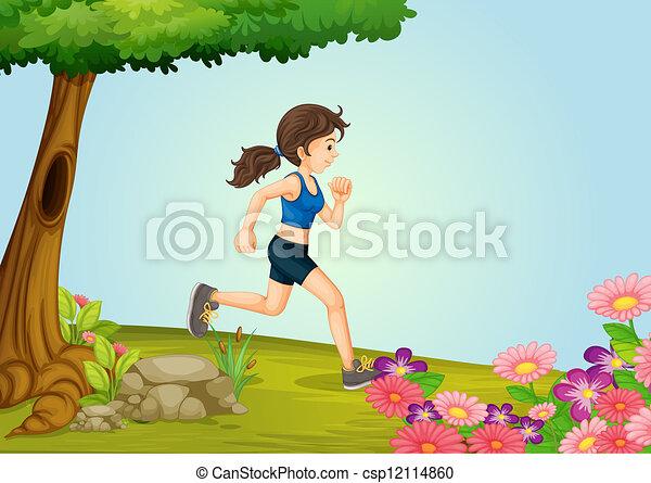 A girl running - csp12114860