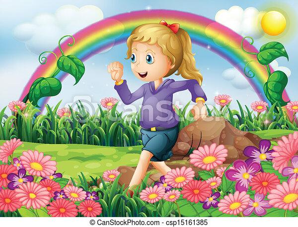 A girl running in the garden - csp15161385