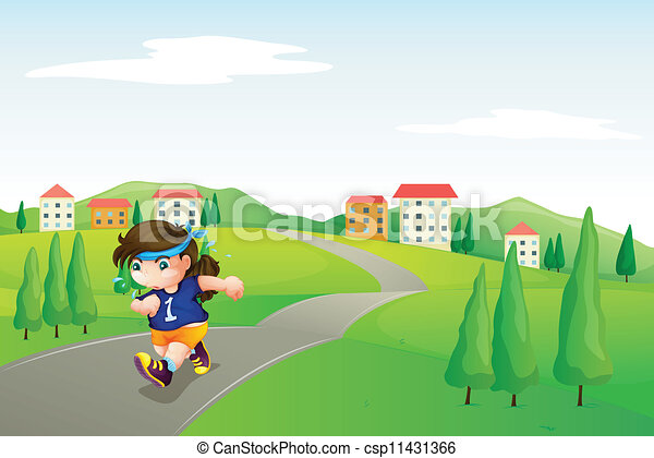 a girl running on road - csp11431366