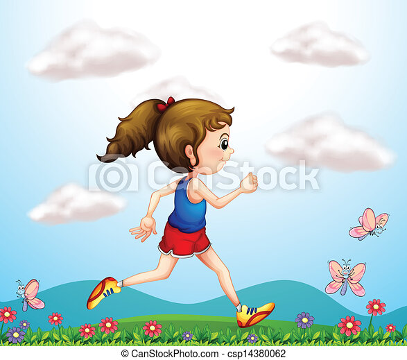 A girl running with butterflies  - csp14380062