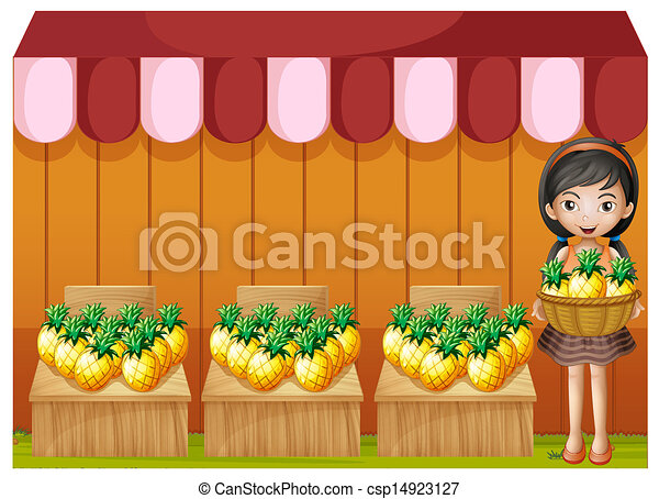 A girl selling pineapples - csp14923127