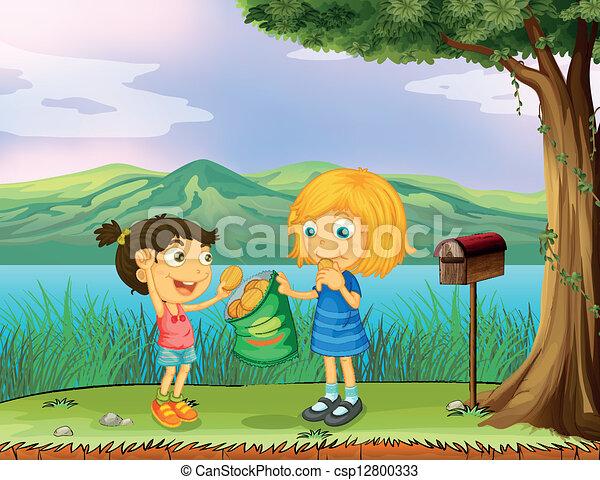 A girl sharing her bread near a mailbox - csp12800333