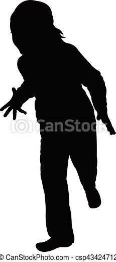 a girl, silhouette - csp43424712
