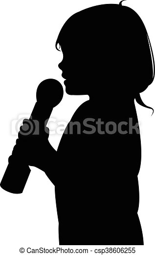 a girl speaking with microphone - csp38606255