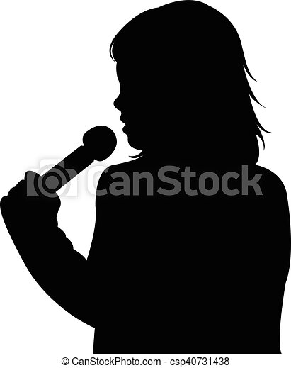 a girl speaking with microphone - csp40731438