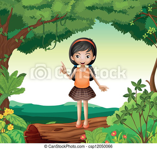 A girl standing on wood in nature - csp12050066