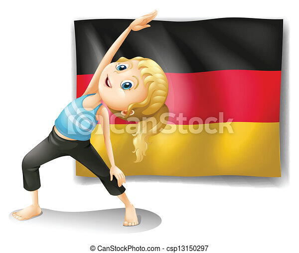 A girl stretching in front of the flag of Germany - csp13150297
